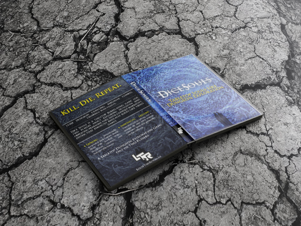 """A DVD case lying face down on broken stone ground, open so that you can see the front and back covers. The back cover has a lot of text but all that is legible is the heading """"Kill. Die. Repeat."""" in yellow, and the Loot The Room logo at the bottom. The front cover is blue and features the words """"Dice Souls"""" against a swirling blue vortex of angels, with a silhouetted couple at the bottom of the image."""
