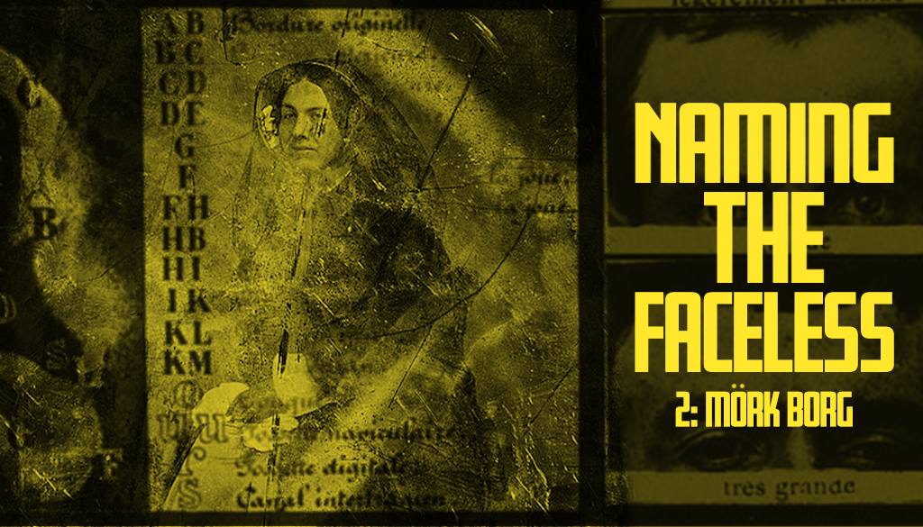 """A yellow banner with a decaying public domain photo of a woman overlaid with unitelligible text. To the right we can see two photographs of a man's eyes. The title """"Naming The Faceless"""" is overlaid in bold yellow text."""