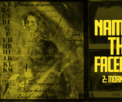 "A yellow banner with a decaying public domain photo of a woman overlaid with unitelligible text. To the right we can see two photographs of a man's eyes. The title ""Naming The Faceless"" is overlaid in bold yellow text."
