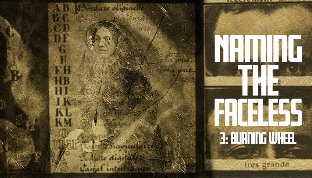 """A gold banner with a decaying public domain photo of a woman overlaid with unitelligible text. To the right we can see two photographs of a man's eyes. The title """"Naming The Faceless"""" is overlaid in bold white text."""