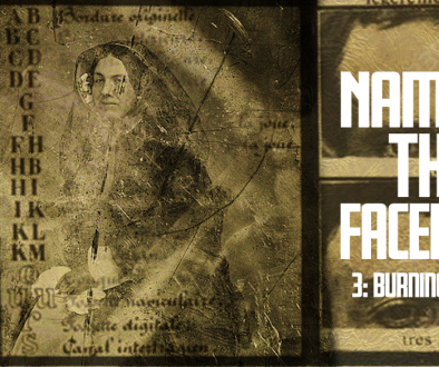 "A gold banner with a decaying public domain photo of a woman overlaid with unitelligible text. To the right we can see two photographs of a man's eyes. The title ""Naming The Faceless"" is overlaid in bold white text."