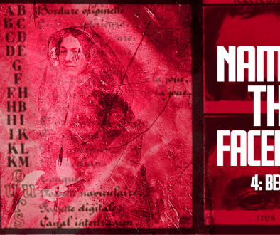 "A red banner with a decaying public domain photo of a woman overlaid with unitelligible text. To the right we can see two photographs of a man's eyes. The title ""Naming The Faceless"" is overlaid in bold white text."