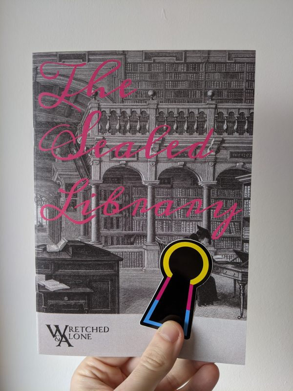 "A hand holding a book illustrated with an old library. Pink cursive text on the cover reads ""The Sealed Library"". A keyhole-shaped sticker with a border of yellow, magenta, and cyan is held against the cover of the book."